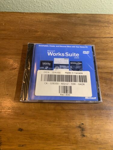 Microsoft Works Suite 2005, Word-Money-Picture It More-Product Key- DVD Rom  - $10.70
