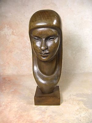 Vintage  hand carved wood Female Woman Bust Head