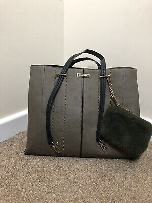 River Island Adjustable Carry/ Shoulder Bag With Furry Purse, Green, Black &Gold