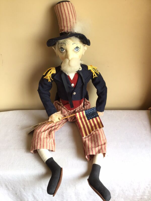 "Rare Gathered Traditions Joe Spencer Uncle Sam Plush Style Doll 32"" Tall #66317"