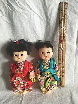 "Lot Of 2 Asian Boy Girl 6"" Plastic Dolls GUC"