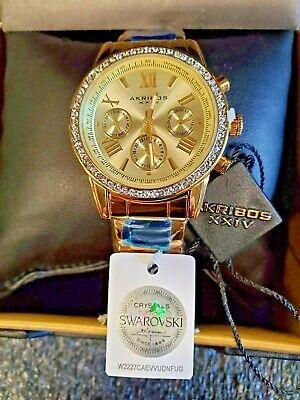 Akribos XXIV Womens swarovski Crystal Accent Watch Multifunction stainless steel