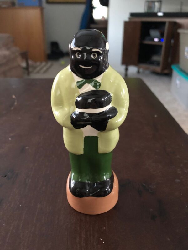 "Pie Bird Vent Man Standing On Pedestal with Green Clothing Holding Hat 5"" Tall"