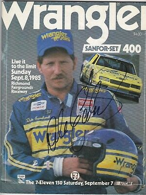 NASCAR Dale Earnhardt Autographed Wrangler 400 program