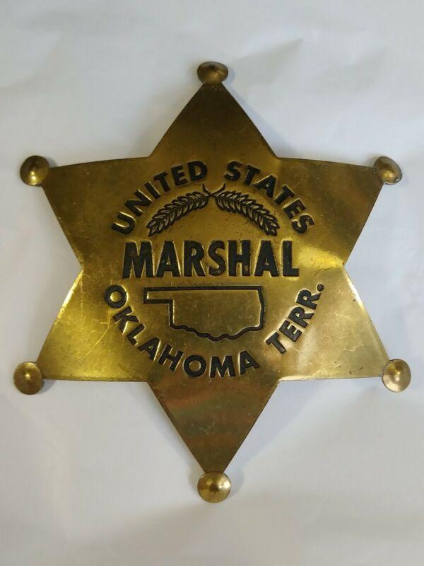 United States Marshall Oklahoma Terr. 6-Point Brass Star Badge Fox Stamp Replica