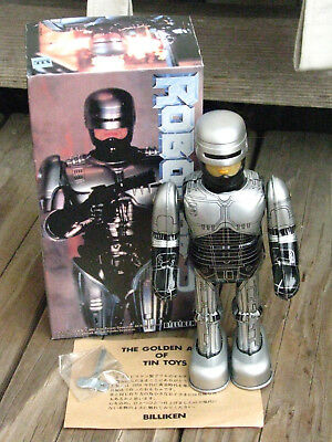"RARE ~ BILLIKEN 1992 ROBOCOP 3 Mechanical Wind up 8"" Tin Toy Robot ~ JAPAN"