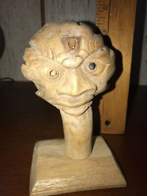 """5.25"""" Tall Hand Carved Head Face Keywest Sculpture Wood Carving Statue"""