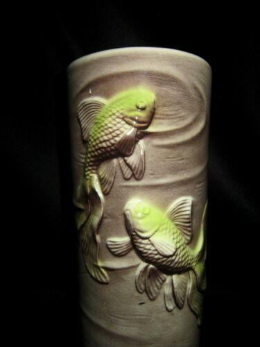 "Royal Coplay Pottery 8"" Brown Lime Green Koi Gold Fish Vase"