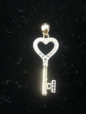 14K Yellow Gold Flat Heart Key Pendant Charm W/ Diamond Cut Top *UNIQUE* 14k Gold Heart Key