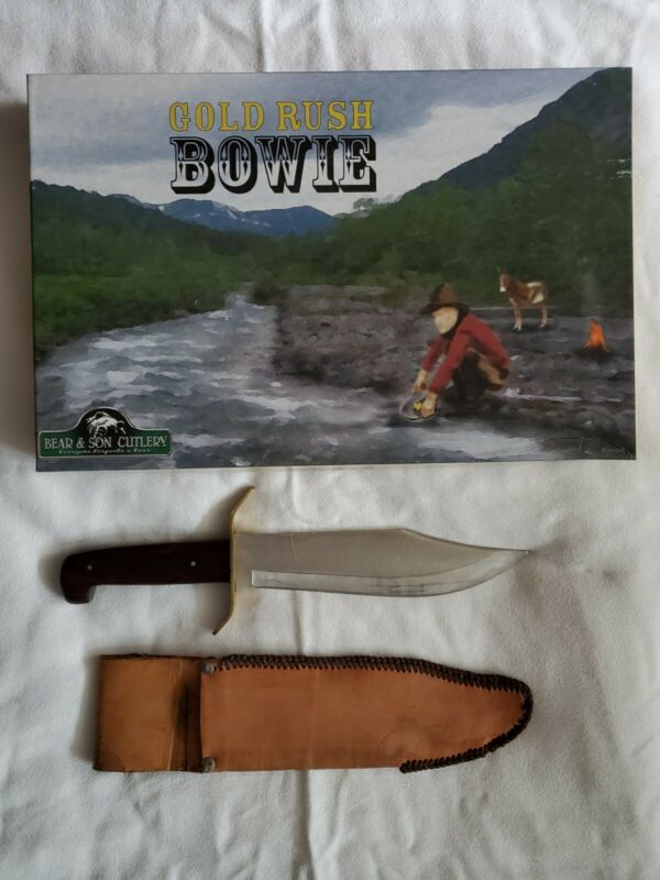 BEAR & SON Gold Rush Bowie Knife With Sheath & Box Made In The U.S.A.