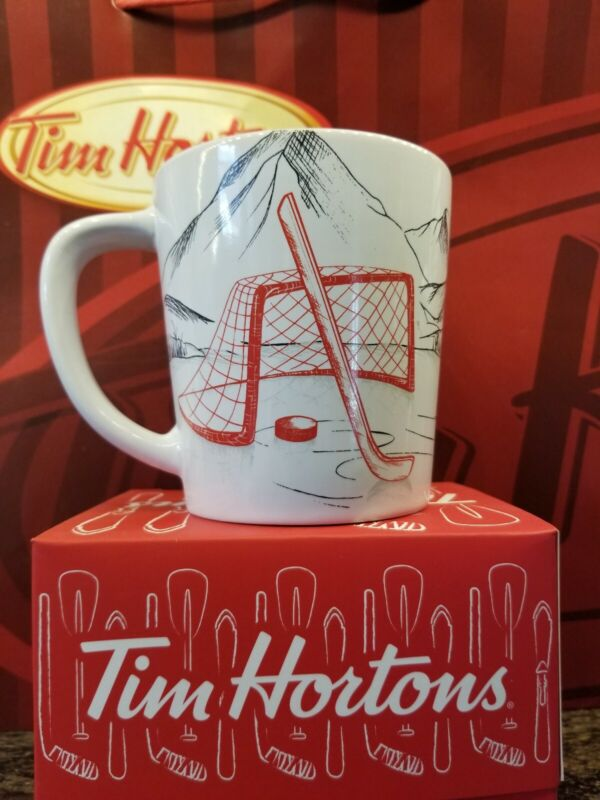 Tim Hortons 2018 Red & White Hockey Mug - New