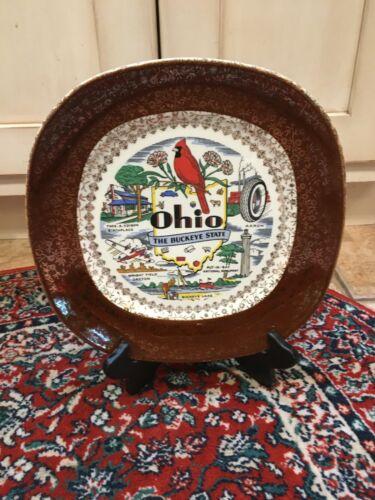 TAYLOR SMITH CONVERSATION OHIO BUCKEYE STATE SOUVENIR SQUARE PLATE WRIGHT AKRON
