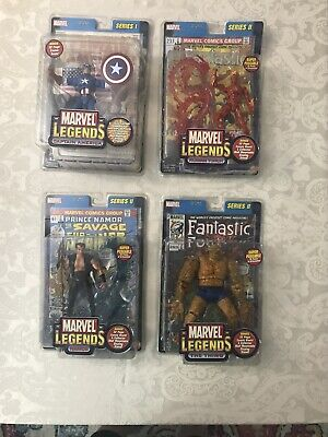 TOY BIZ MARVEL LEGENDS LOT OF 4 ACTION FIGURES DATED 2002 CAPTAIN AMERICA ETC...