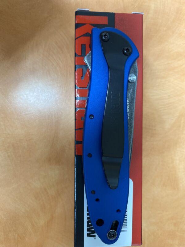 New Exclusive Kershaw Leek Folding Knife, BlackWash Blade w/ Blue Handle