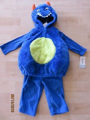 Carters Baby Monster Halloween Costume Infant 3-6 months Blue Plush New 3 Pc