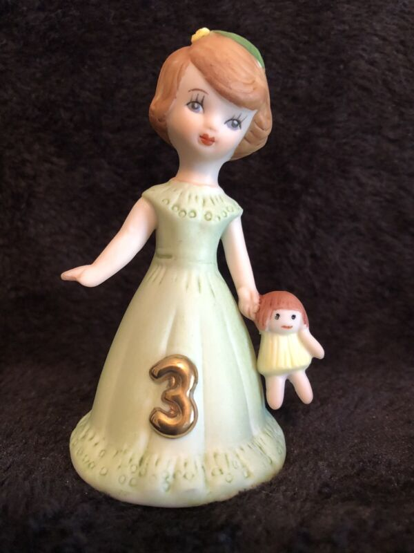 Vintage 1982 Ceramic Enesco Growing Up Birthday Girl Age 3 Brunette Figurine 3""