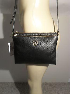 NWT Michael Kors Fulton Black Leather Large EW Crossbody Bag Handbag MK Logo