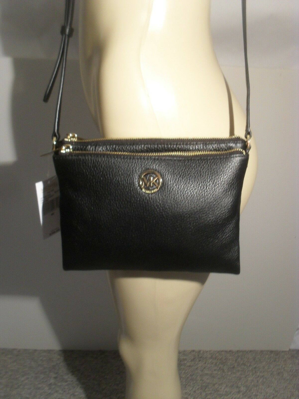 Michael Kors - NWT Michael Kors Fulton Black Leather Large Crossbody Bag MK Messenger Purse