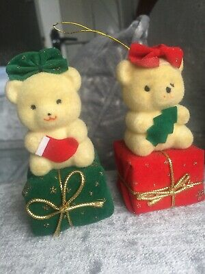 2 Vintage Bear Christmas Gift Tree Ornaments