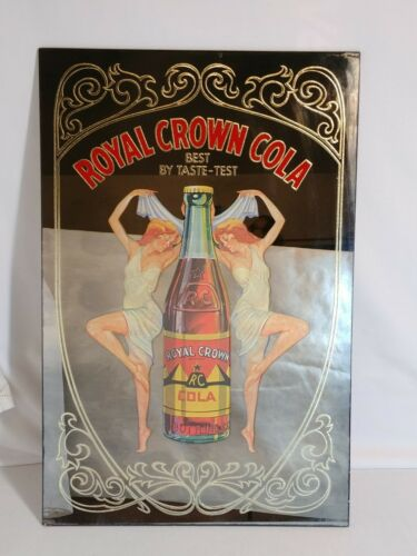 Royal Crown Cola Vintage MIRROR SIGN Best By Taste Test Lady RC Soda Advertising
