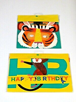 Happy Birthday Garland Banner~Animal Masks  Jungle Safari Zoo Party~Monkey Tiger