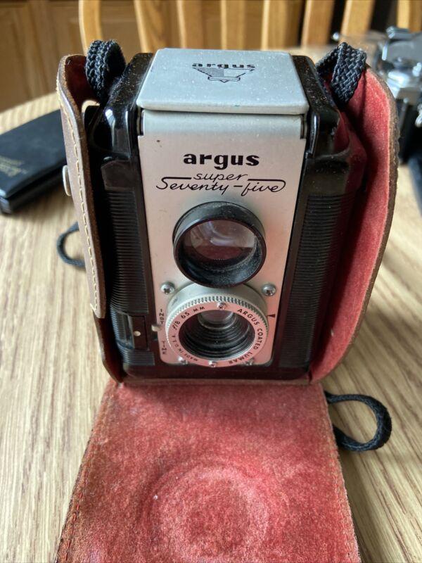 Vintage Argus Super 75 Camera Seventy Five, With Original Leather Case. Untested