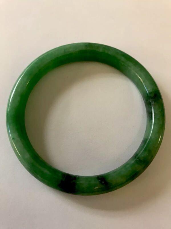 Vintage Translucent Natural Green Jadeite Jade Bangle Bracelet 59MM
