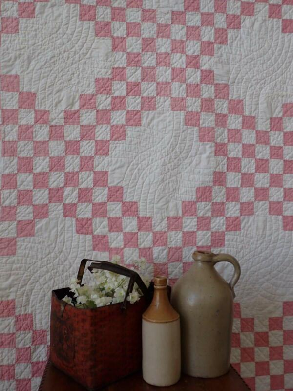 Antique Cinnamon Red or Pink & White Irish Chain QUILT Dated 1908
