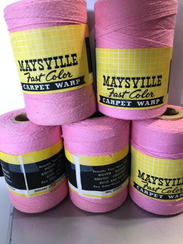 Lot of 5 Lily Carpet Warp for Weaving, PINK MCM vintage 600 yards lot