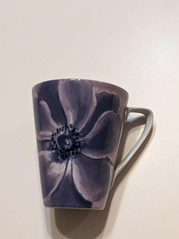 "Pier 1 Coffee Mug Purple Flower 5"" X 5.5"""