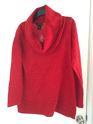 Design365 Woman's Large Red Tweed Cowl Neck Long Sleeve Tunic Sweater NWT