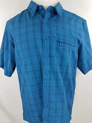 Blue Plaid Casual Shirt (Eddie Bauer Button Front Blue Plaid Short Sleeve Casual Outdoor Shirt Large )