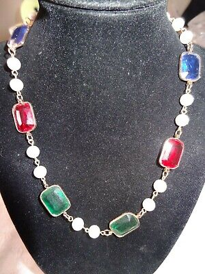 Gold Tone Metal Necklace W/ Faux Pearls & Multi Color Plastic Stones  Gold Plastic Necklace