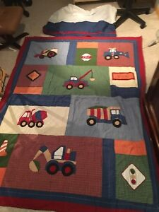 Boys construction Twin comforter and bed skirt