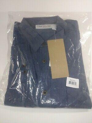 Chef Works Urban Collection Culinary Arts Detroit Long Sleeve Denim Shirt Blue L