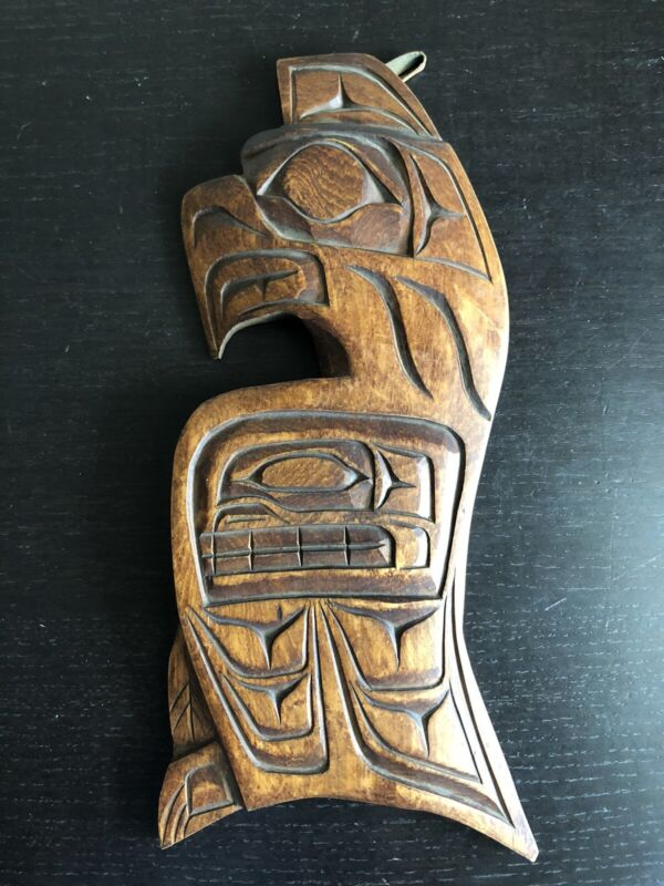 Fine SIGNED Ralph Shaughnessy First Nations Alert Bay Cedar Eagle Plaque Art