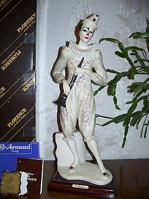 "G. ARMANI Figure Figurine Statue Sculpture ""Clown with Clarinet"" Musical, Italy"