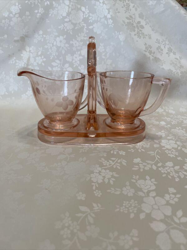 Vintage Depression Glass Pink Etched Floral Sugar And Cream Set