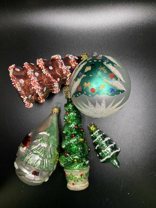 Lot of five vintage Glass Christmas Tree Christmas ornaments