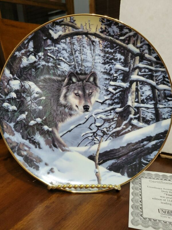 """Decorative Plate """"Timber Wolf And Hare""""  1987 By Derk Hansen"""