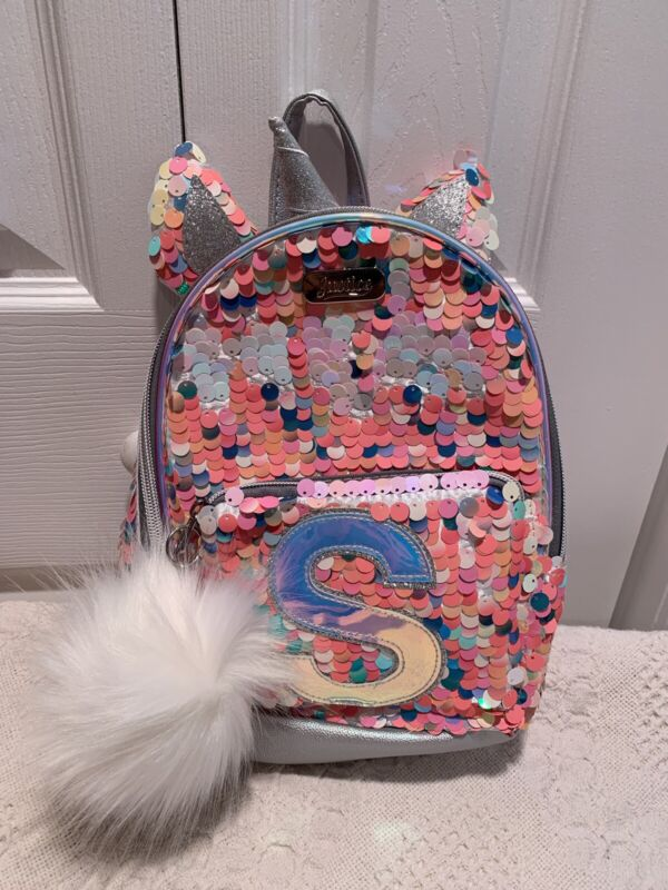 """Justice Girls Initial """"S""""Mini Backpack Unicorn Flip Sequins NWT Very Cute"""