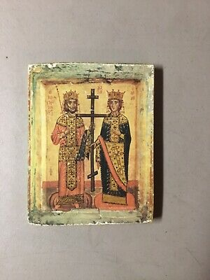 "Saints Constantine & Helen Antique Icon PRINT on Wood, 6"" x 8"""