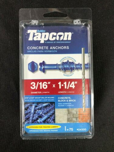 24300 Tapcon 75-Pack 1-1/4-in x 3/16-in Concrete Anchors