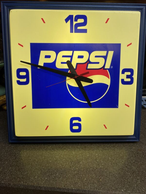 Vintage Square Lightup & Clock Pepsi Advertising Sign