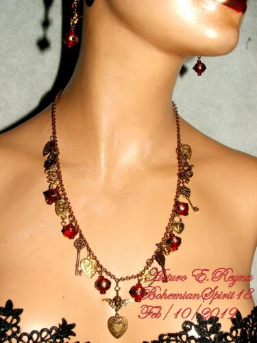 Arturo E.Reyna Cherub Hearts Brass Lampwork Bead HANDCRAFTED CHARMS Necklace Set