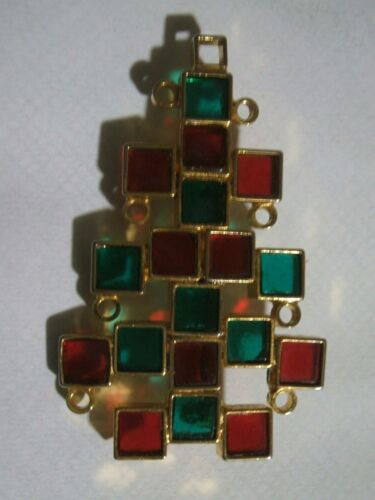 Rare  Old  Poured  Glass  Christmas  Tree  Pin  -  Signed  MADE IN AUSTRIA