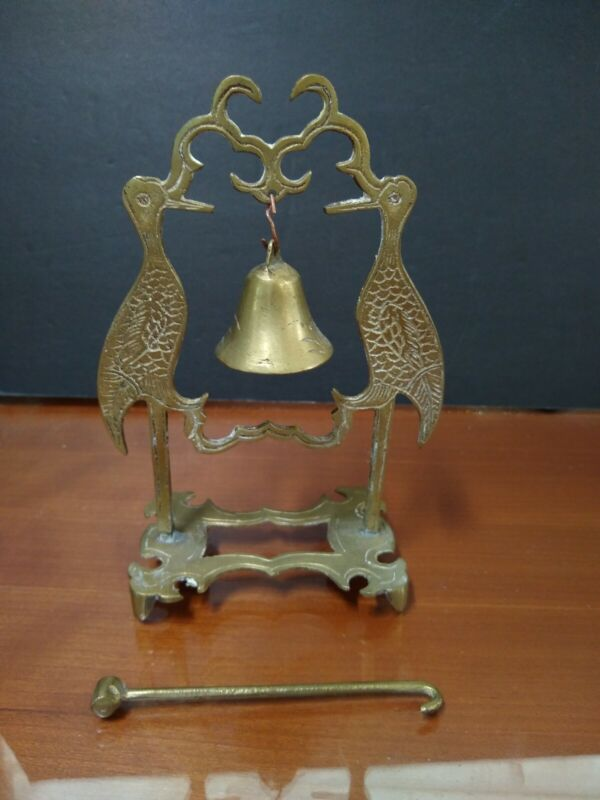 Vintage Chinese Solid Brass Bell with Pair of Cranes Holder and Brass Striker