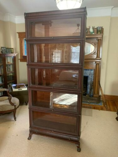 Monumental Stacking MAHOGANY Barrister Bookcase MACEY Book Case Claw Foot Base