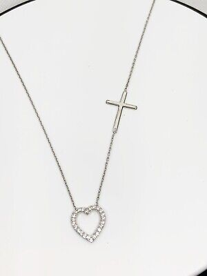 Womens 925 Sterling Silver Heart and Cross Necklace - Heart And Cross Necklace