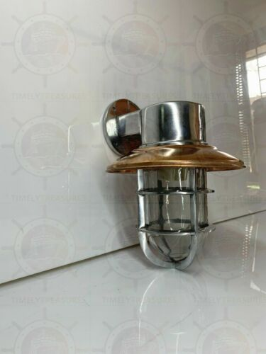 WALL SCONCE SOLID BULKHEAD LIGHT FIXTURE NAUTICAL ALUMINUM WITH COPPER SHADE